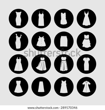 dress icon set - stock vector