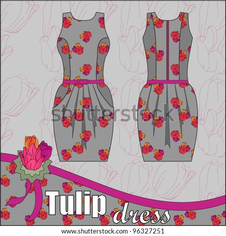 dress in floral print fabric - stock vector