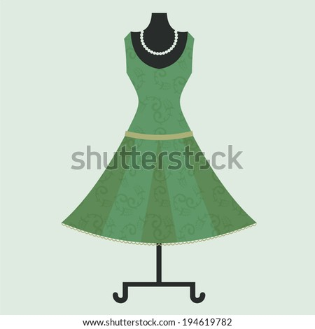 dress on a mannequin - stock vector