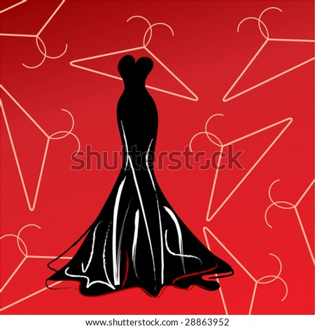 dress with hangers - stock vector