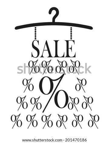 Dress with SALE label and percet sign on hanger - stock vector