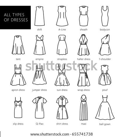 Dresses Silhouette Vector Set Vector All Stock Vector 655741738 Shutterstock