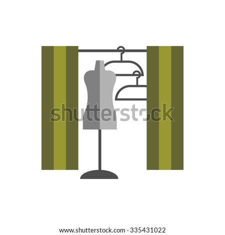 dressing room Studio on white background flat vector icon - stock vector