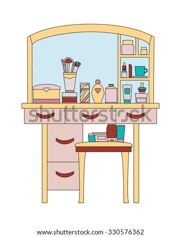 Dressing table with elements of daily care and makeup.