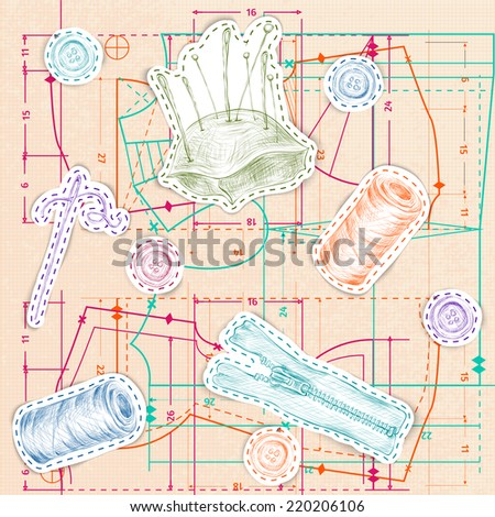 Dressmaking and needlework sketch accessories with pink paper sewing pattern background vector illustration - stock vector