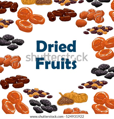 Dried fruits. Vector poster with raw nutritious raisins, dates, figs, apricots, plums, prunes. Vegetarian sweets and dessert snacks.