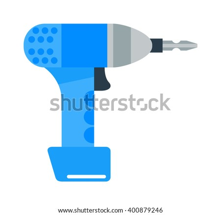 Drill hand tool flat vector. Hand drill electro tools. Electric drill screwdriver icon. Some flat hand drill isolated on white background. - stock vector