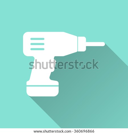 Drill  icon with long shadow, flat design. Vector illustration.