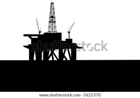 Drilling Platform in sea (see more in my portfolio) - stock vector