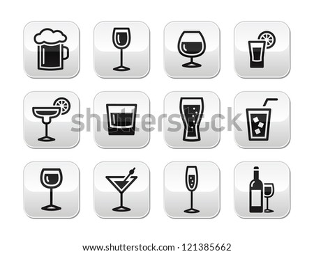 Drink alcohol beverage vector buttons set - stock vector
