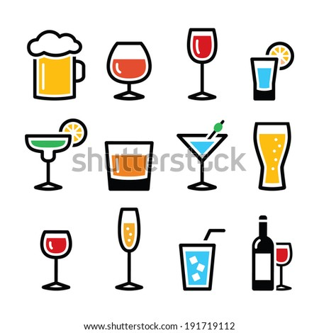 Drink colorful alcohol beverage icons set - stock vector
