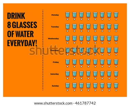 Drink Eight Glasses Of Water Everyday! (Weekly Planner Vector Illustration Poster)