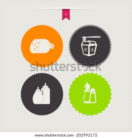 Drink & food icons set, from left to right, top to bottom -  Sausage, Chinese food, Ketchup & mustard, Salt cellar & paper cellar. - stock vector