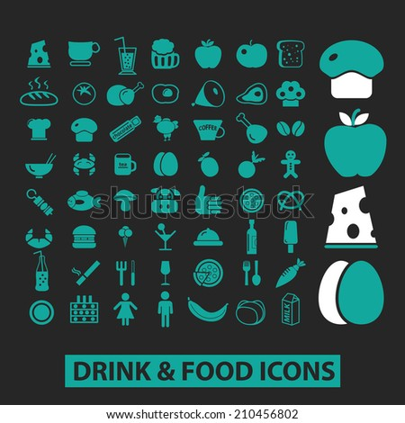 drink, food icons, signs, symbols, objects, illustrations set. vector - stock vector