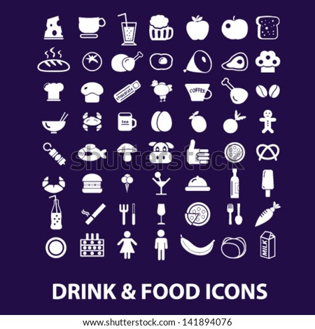 drink, food, restaurant, cafe, grocery store, shop icons, signs set, vector - stock vector