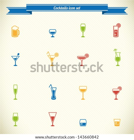 Drink icon set in color - stock vector