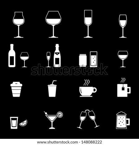 Drink Icon - White - stock vector