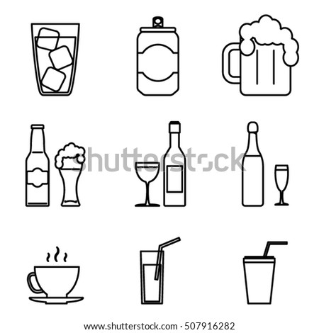 Drink Icons Line Art and Isolated Set Vector Illustration