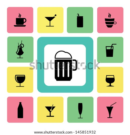 Drink icons set for use - stock vector