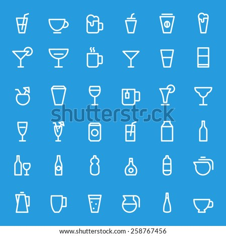 Drink icons, simple and thin line design - stock vector