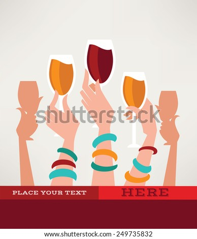 drink with me, glass and hand - stock vector