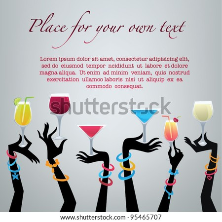 drink with me,vector commercial background with images of drinks and hands - stock vector