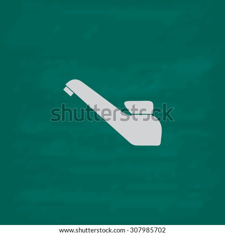 Drinking faucet. Icon. Imitation draw with white chalk on green chalkboard. Flat Pictogram and School board background. Vector illustration symbol - stock vector