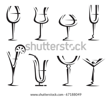 drinking glass collection - stock vector