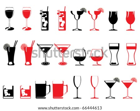 Drinking glass collection vector - stock vector