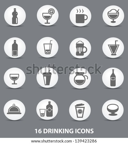 Drinking icons,vector - stock vector