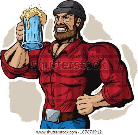 Drinking Lumberjack - stock vector