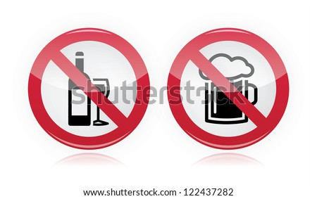 Drinking problem - no alcohol, no beer warning sign - stock vector