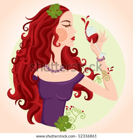 Drinking red wine lady illustration - stock vector