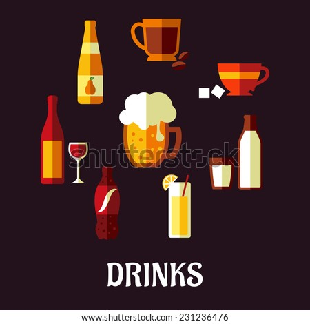 Drinks and beverages flat icons showing silhouettes of a wine bottle and glass, beer, coffee, tea, milk bottle and glass, orange juice and a soft drink soda on a black background, vector illustration - stock vector