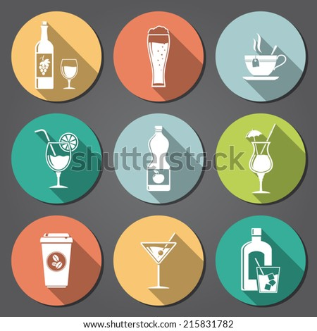 Drinks and beverages flat icons with long shadow - stock vector