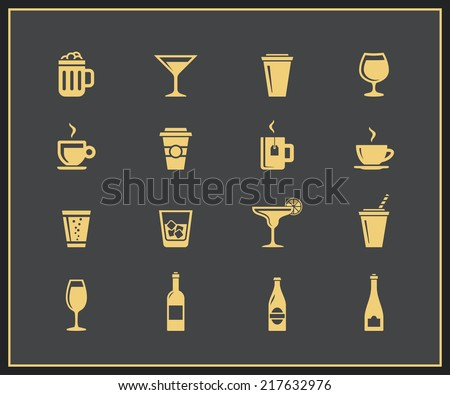 Drinks and beverages icon set. Vector icons - stock vector