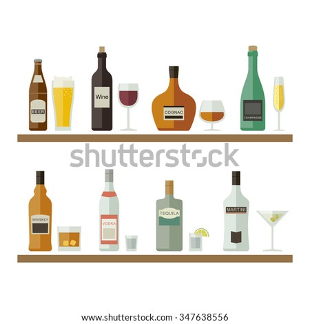 Drinks and beverages icons. Bottles of alcoholic beverages with mugs and glasses. Vector flat illustration. - stock vector