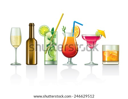 Drinks and cocktails - stock vector