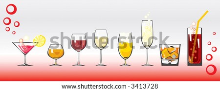 Drinks & cocktails - stock vector