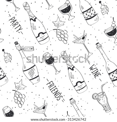 Drinks doodle pattern. Hand drawn beverages seamless background. Doodle snacks and drinks black on white. Beverages, glass, bottles, grapes, snacks. Wine, friend, party. - stock vector