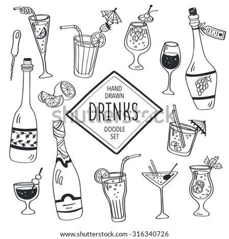 Drinks doodle set. Hand drawn cocktails icons isolated on white background. Doodle beverages collection. Bottles, glass, cocktails. Water, wine and juice. - stock vector