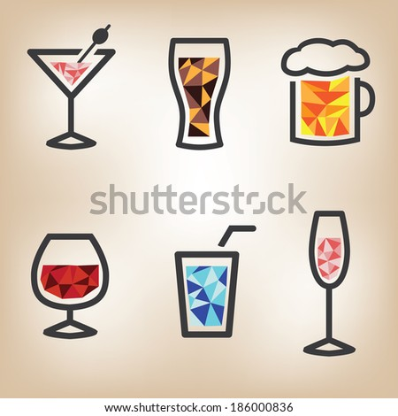 Drinks icon set - stock vector