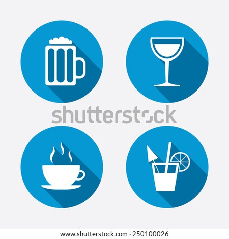 Drinks icons. Coffee cup and glass of beer symbols. Wine glass and cocktail signs. Circle concept web buttons. Vector