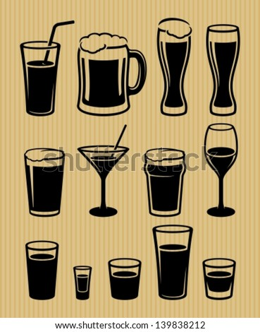 Drinks icons set - stock vector