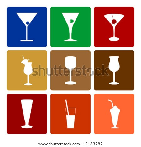 drinks icons - silhouette glasses vector - stock vector
