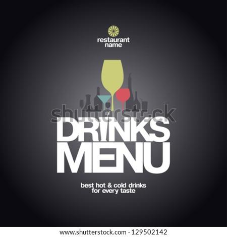 Drinks Menu Card Design template. - stock vector