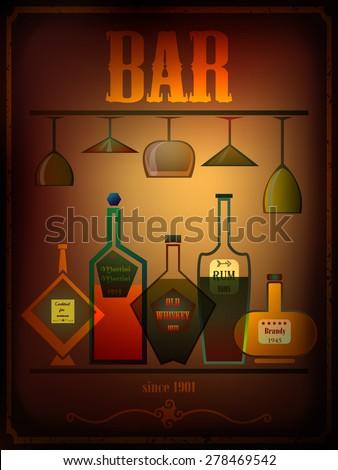 Drinks Menu Card, retro Design template, vector illustration - stock vector