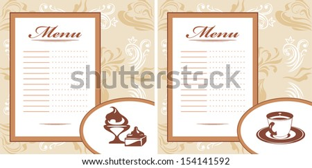 Drinks, pastry and ice cream. Menu card template. Vector - stock vector