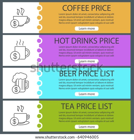 Drinks Price Lists Web Banner Templates Stock Vector 640946005 ...