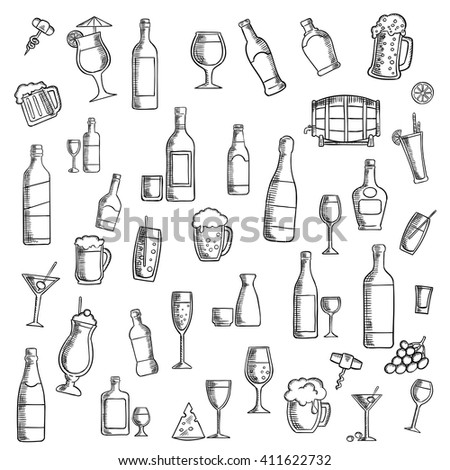 Drinks sketch icon with cocktails, wine, beer, vodka, champagne, martini, whisky and sake, barrel of ale, juice, soft beverages and milk shakes with fruit and cheese snacks - stock vector